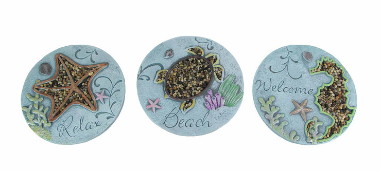 Welcome Beach Relax Decorative Coastal Stepping Stones or Wall Hangings Set
