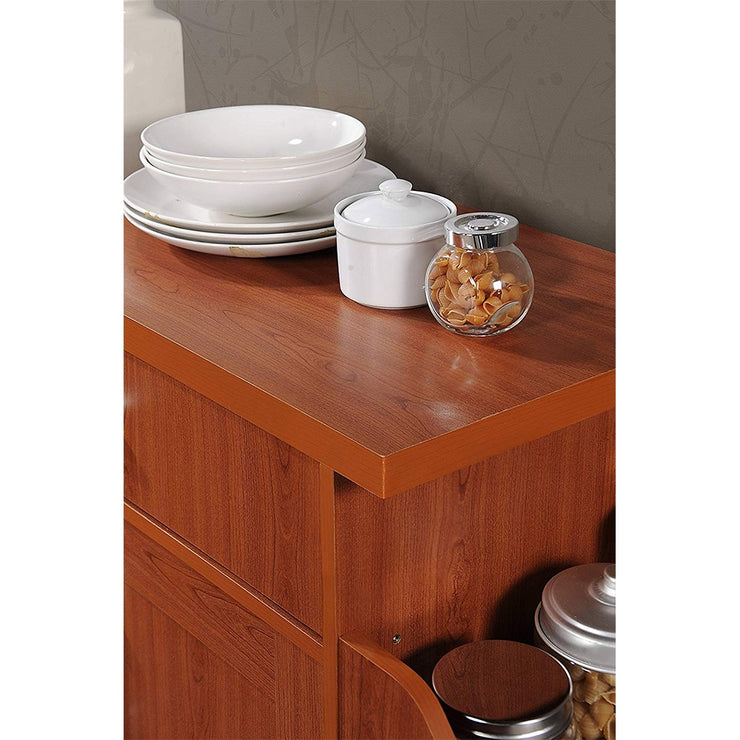 Hodedah Wheeled Kitchen Island Cart with Spice Rack and Towel Holder,