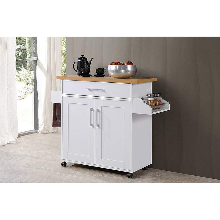 Hodedah Wheeled Kitchen Island with Spice Rack and Towel Holder, White/Beech