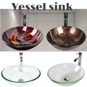 New Frosted Glass And Tempered Glass Bathroom Vessel Sink Basin Bowl With Oil