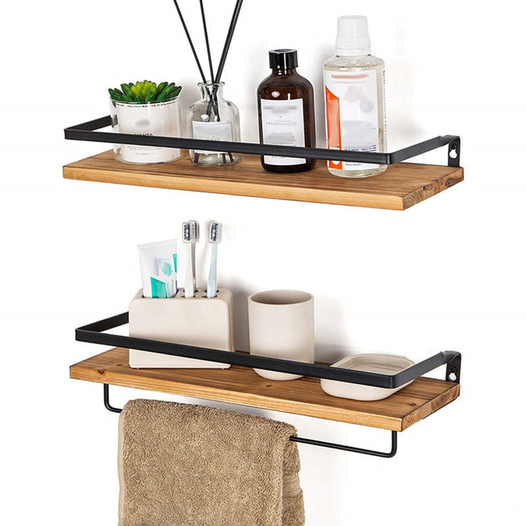 2PCS Rustic Wooden Floating Shelves Wall Storage
