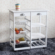 Wooden Rolling Kitchen Island Trolley Cart Storage Shelf Drawers Baskets