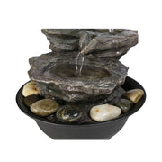 Tier Cascading Resin-Rock Falls Tabletop Water Fountain Small Relaxation Waterfall Feature with LED