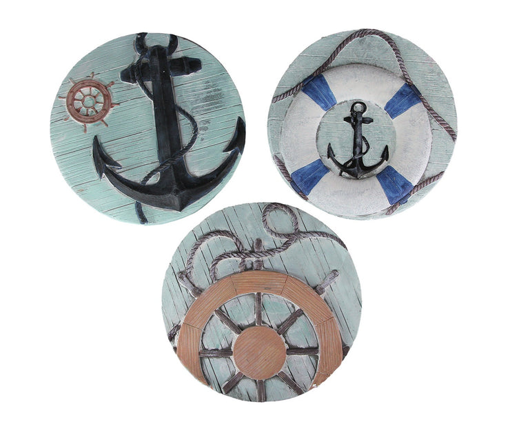 Set of 3 Concrete Nautical Stepping Stones Anchor Wheel Hanging Decorative Art
