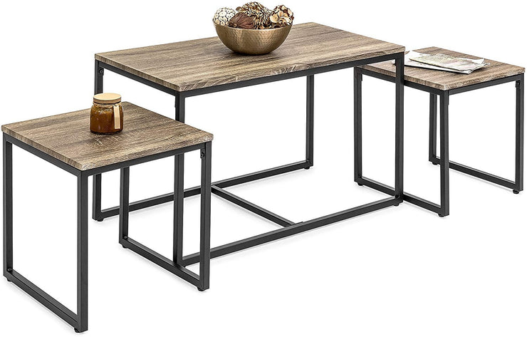 3-Piece Modern Lightweight Nesting Coffee Accent Table Living Room Furniture Lounge Set
