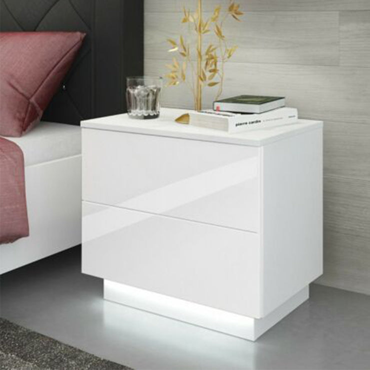 High Gloss Nightstand Bedside End Table Side Table Accent W/LED Light