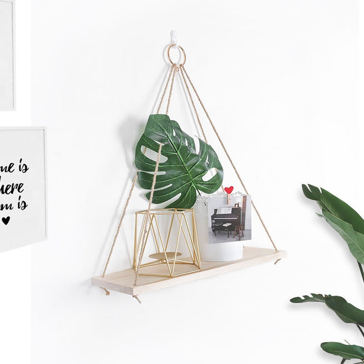 Wooden Wall Shelf Hanging Swing Rope Floating Shelves Jute Rope Hanging Plant Rack