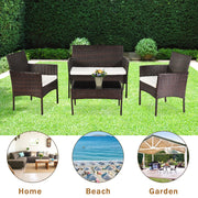 4-Piece Outdoor Balcony Rattan Furniture Chair Set with Table