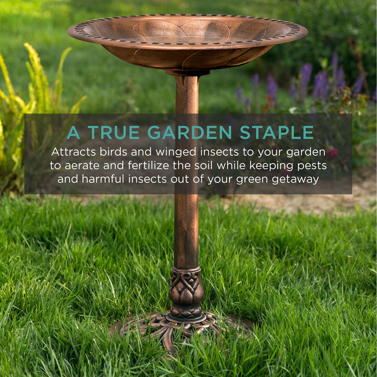 Vintage Outdoor Garden Bird Bath w/ Fleur-de-Lis Accents