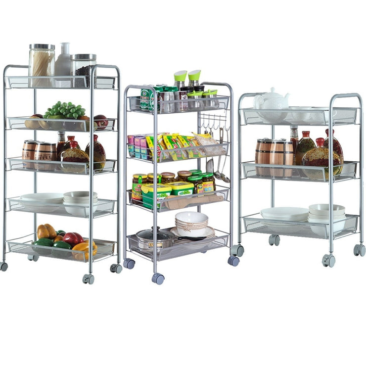 3/4/5-Tier Organizer Metal Rolling Storage Shelving Rack Kitchen Wire Shelf