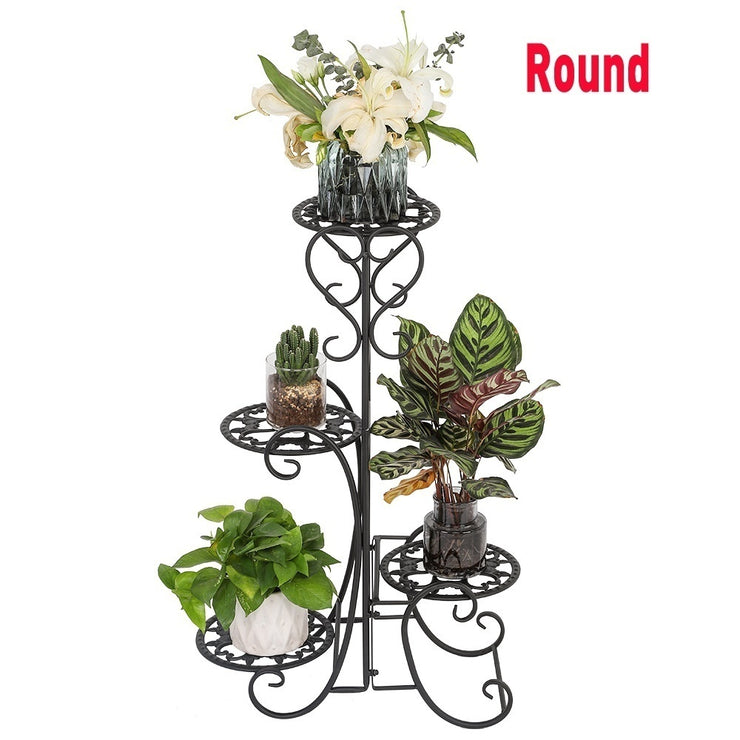 4 Tier Metal Shelves Flower Pot Plant Stand Display