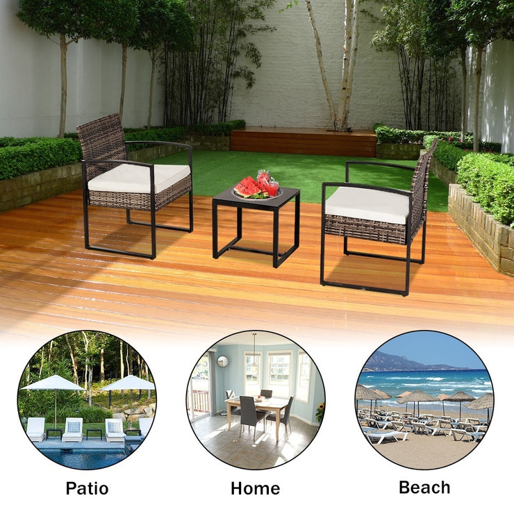 Oshion Outdoor Balcony Terrace Three-piece Rattan Mini Leisure Set