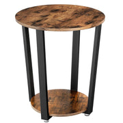 Industrial End Table, Metal Side Table, Round Sofa Table with Storage Rack
