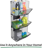 Saratoga Home Premium 3-Tier Wall Mounted Hanging Wire Baskets with Removable Chalkboards
