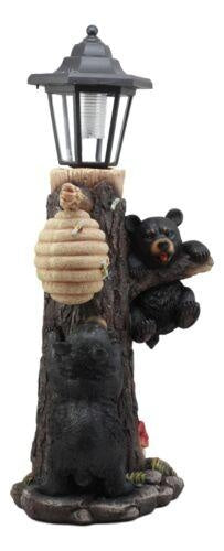 Ebros Large Climbing Black Bear Cubs Reaching for Honeycomb Beehive LED