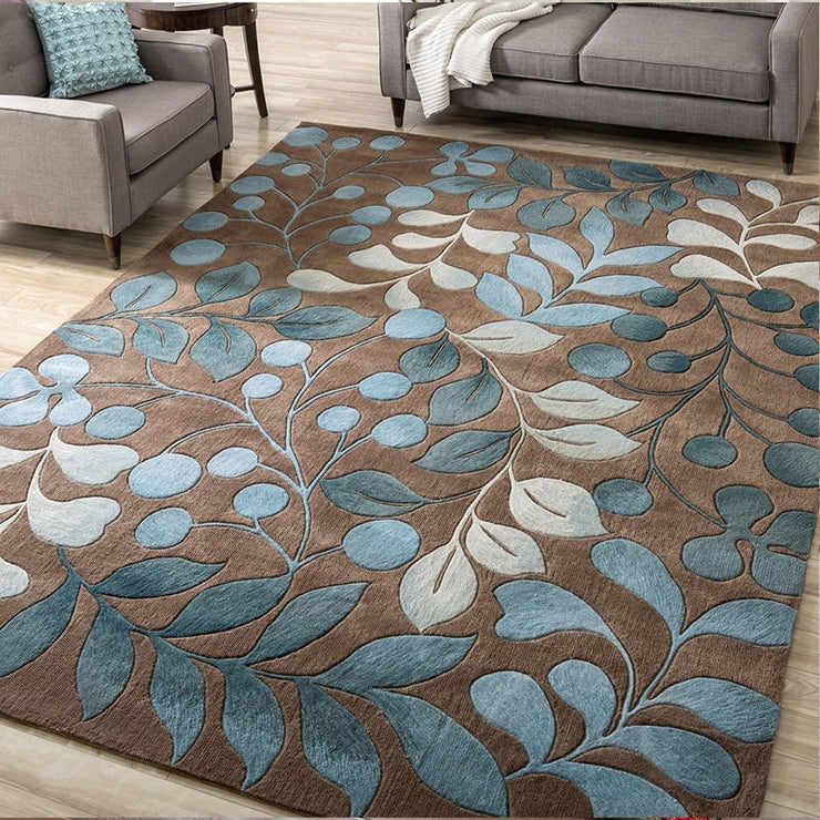 4 Size Large Non-slip Contours Botanical Carpet Rug Mat Living Room Area Rugs Sofa Side Carpet