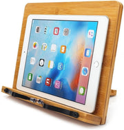 Bamboo Book Stand,wishacc Adjustable Book Holder Tray and Page Paper