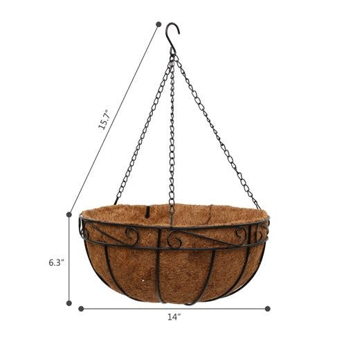 "4 Pcs 10/12/14"" Metal & Coconut Liner Rope Hanging Planter Basket"