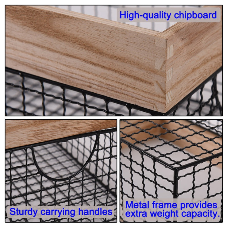Wooden Top Wire Clothes Storage Basket Storage Container Clothes Basket
