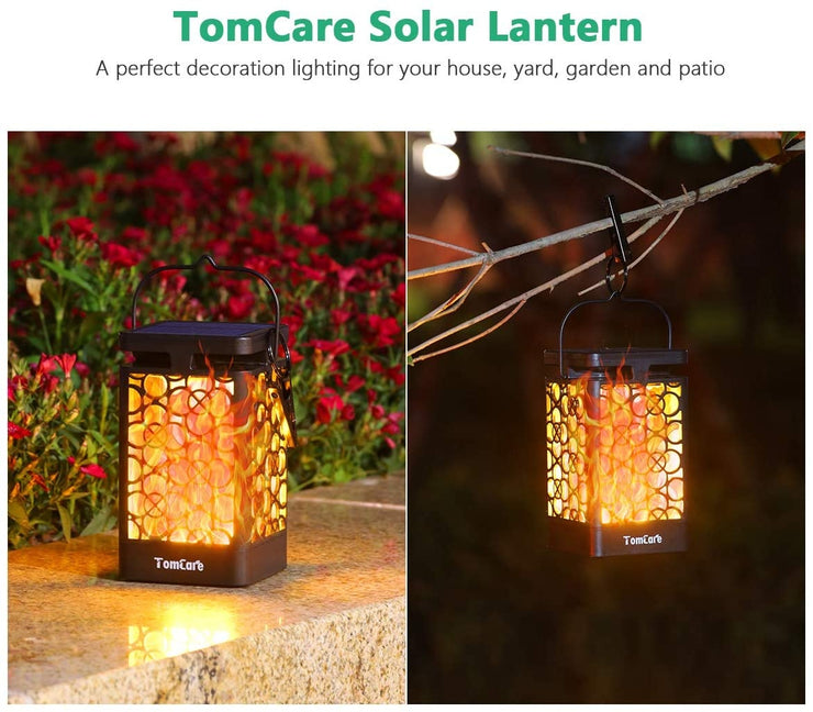 TomCare Solar Lights Upgraded Solar Lantern Flickering Flame Outdoor Hanging Lantern