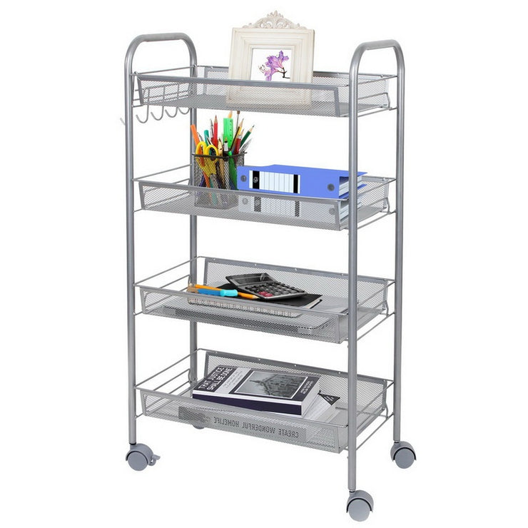 3/4/5-Tier Mesh Wire Rolling Cart Multifunction Utility Cart Kitchen Storage Cart