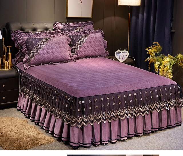 Quilted Lace Bed Cover European style 1/3pcs Crystal Velvet Bedspreads Warm Mattress cover