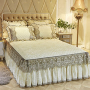 Lace Velvet Bedspread King Size Quilted Bedskirt Ruffle Elastic