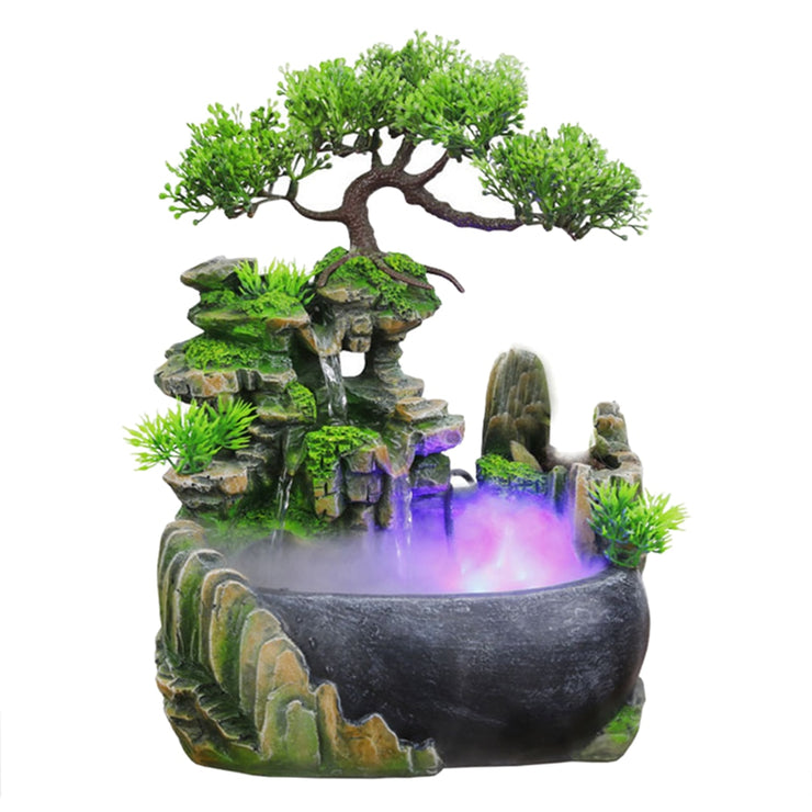 Desktop Humidifier Waterfall Rockery Fountain Flowing Water Mini Fish Pond