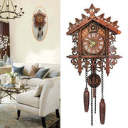 Vintage Wooden Tree House Hanging Cuckoo Wall Clock for Home Bedroom Office