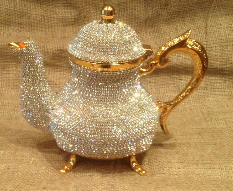 Swarovski decorated stones , copper tea pots high value Hand made luxury gold