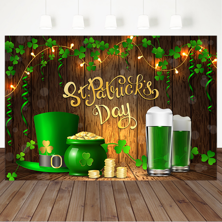 St. Patricks Day Backdrop Irish Green Lucky Shamrock Background Green Beer Mug Gold Wooden Backdrops