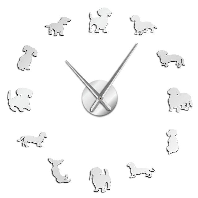 Dachshund Dog Breeds Large DIY Wall Clock Watch Puppy Animals Mirror Stickers
