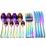Black Tableware Stainless Steel Cutlery Set Forks Knives Spoons Kitchen Dinner Set
