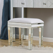Dressing Makeup Table Stool Mirrored Entryway Console Glass Desk Dresser 2 Drawers Bedroom