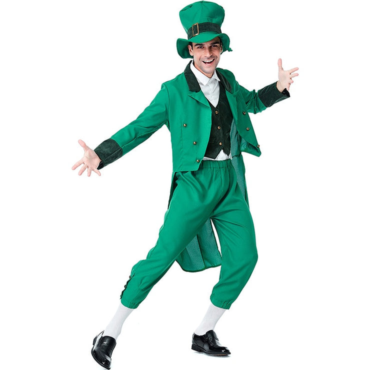 Adult Funny St Patricks Lucky Irish Leprechaun Mens Fancy Dress Costume Outfit S-XL