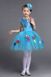 Children Teenager Toddler Party Gowns Sequined Short Girls Blue Green St Patricks Day Kids Dress