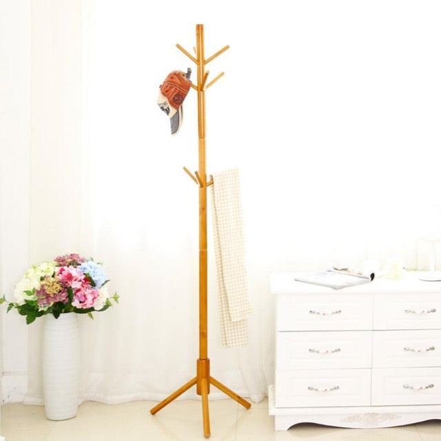 Solid Wood Hanger Floor Standing Coat Rack Clothes Hanging Storage Rack Wood Hanger Bedroom