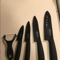 "Zirconia black blade black handle 3"" 4"" 5"" 6"" inch + Peeler + covers ceramic knife set"