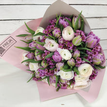 Load an image into the Gallery browserPurple tulips and ranunculus