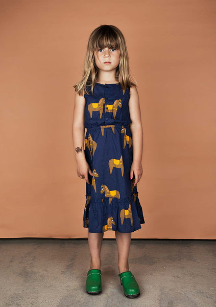 Mini Rodini Woven Horse Dress available Yellow Dandy Australia