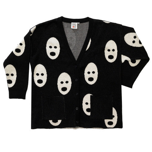Knit Cardigan Jet Black Ghosts - Grown Up