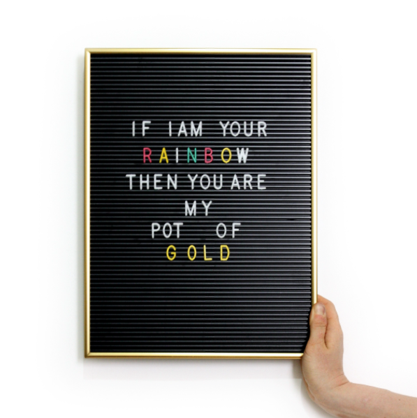 Gold & Black Retro Letter Board