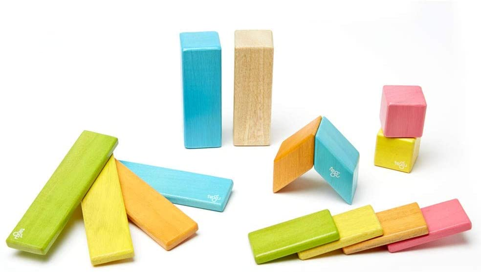 14 Piece Magnetic Wooden Block Set, Tints