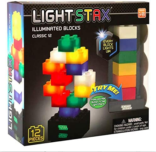 Light Stax Junior Classic LED Light-Up Building Blocks Starter Set, 12 Pieces
