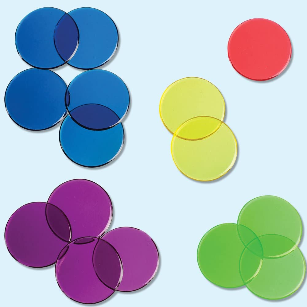 Transparent Color Counting Chips, Set of 250 Assorted Colored Chips