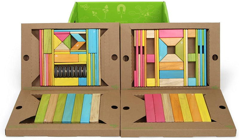 90 Piece Classroom Magnetic Wooden Block Set, Tints