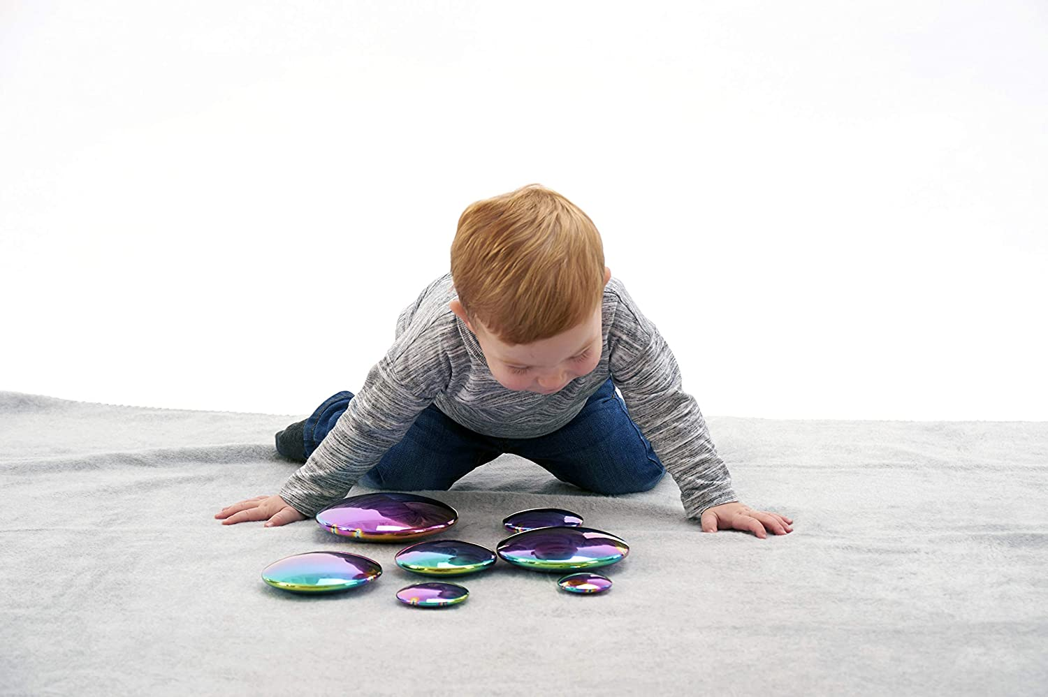 Sensory Reflective Colour Iridescent Burst Buttons, Set of 7