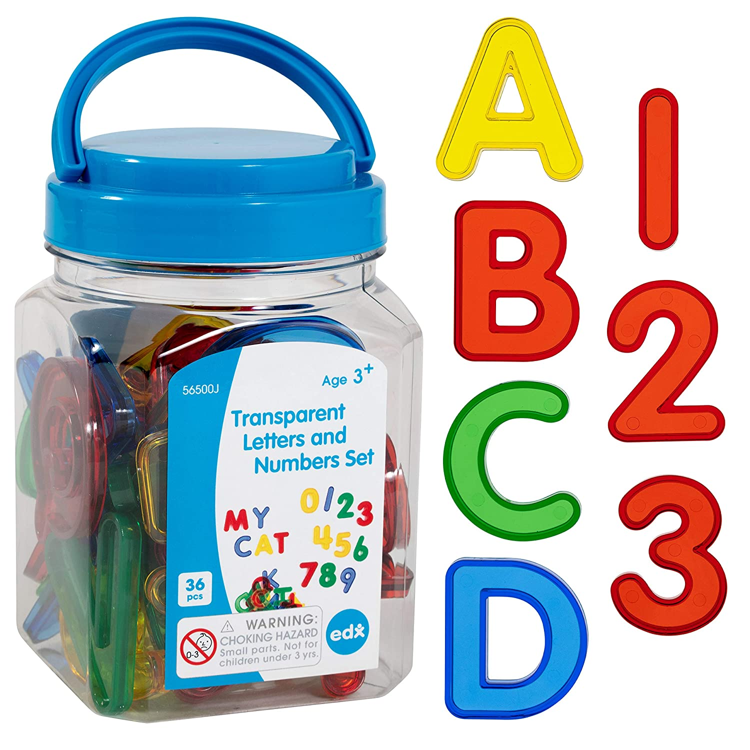 Transparent Letters & Numbers Set, Mini Jar