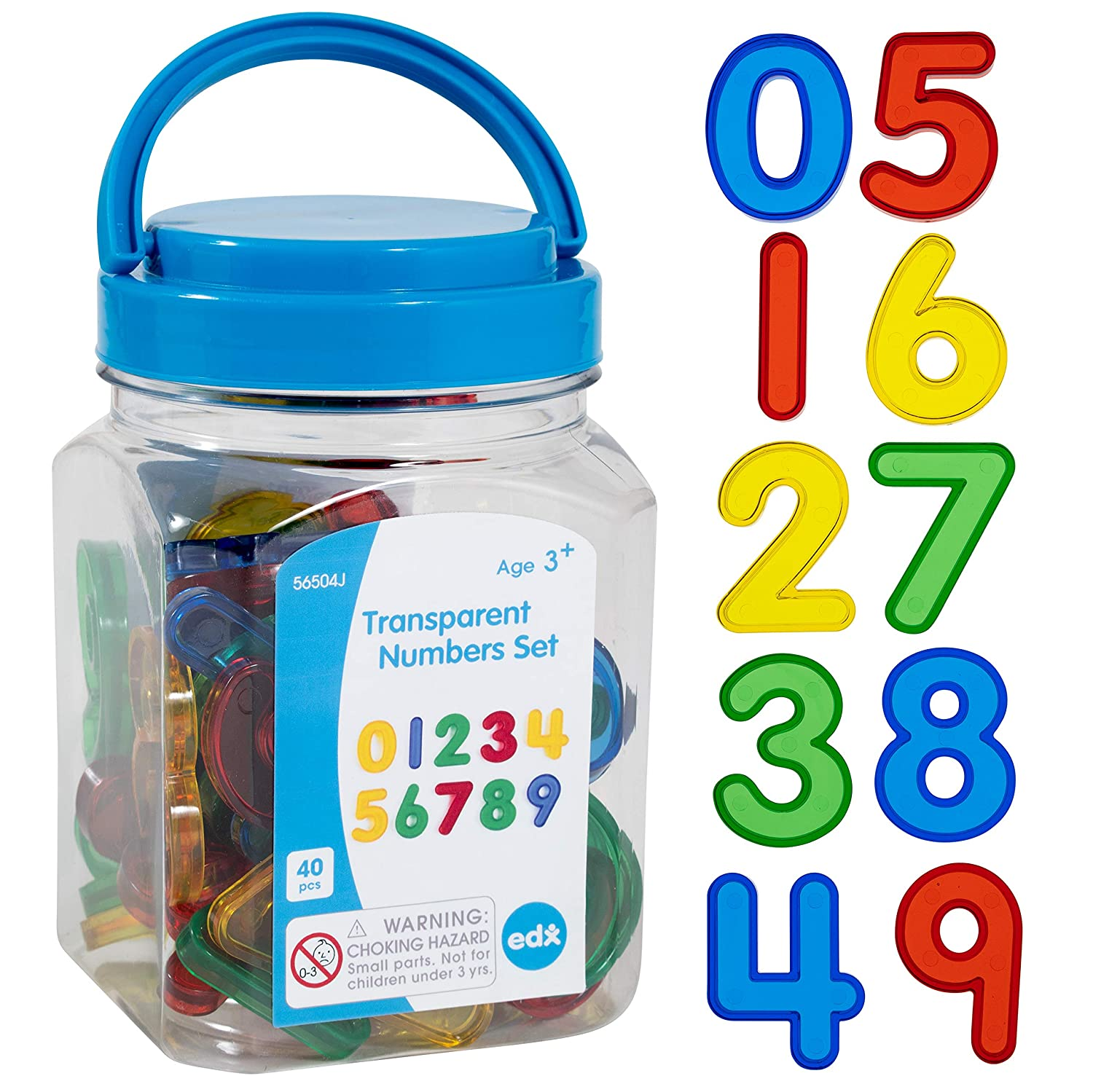 Transparent Numbers Set, Mini Jar