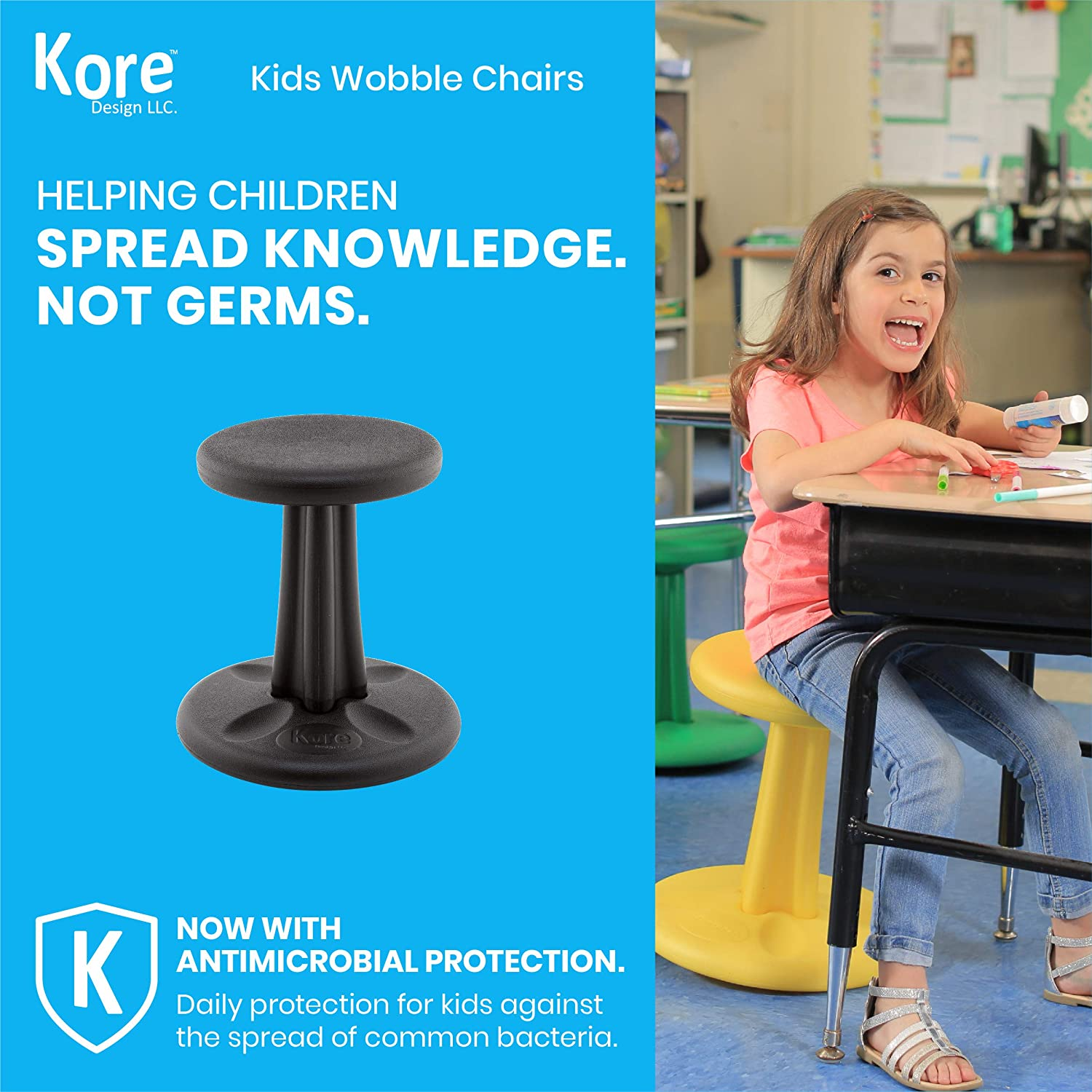 Kids Wobble Chair, 14 in (6-7 Years), Green